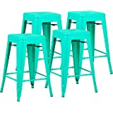 """Poly and Bark Trattoria 24"""" Counter Height Stool in Aqua (Set of 4)"""