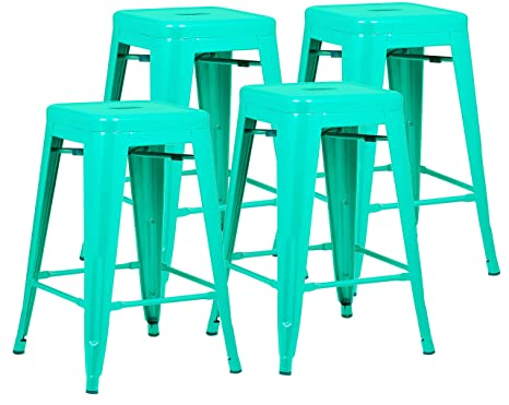 Swell Poly And Bark Trattoria 24 Counter Height Stool In Aqua Set Of 4 Machost Co Dining Chair Design Ideas Machostcouk