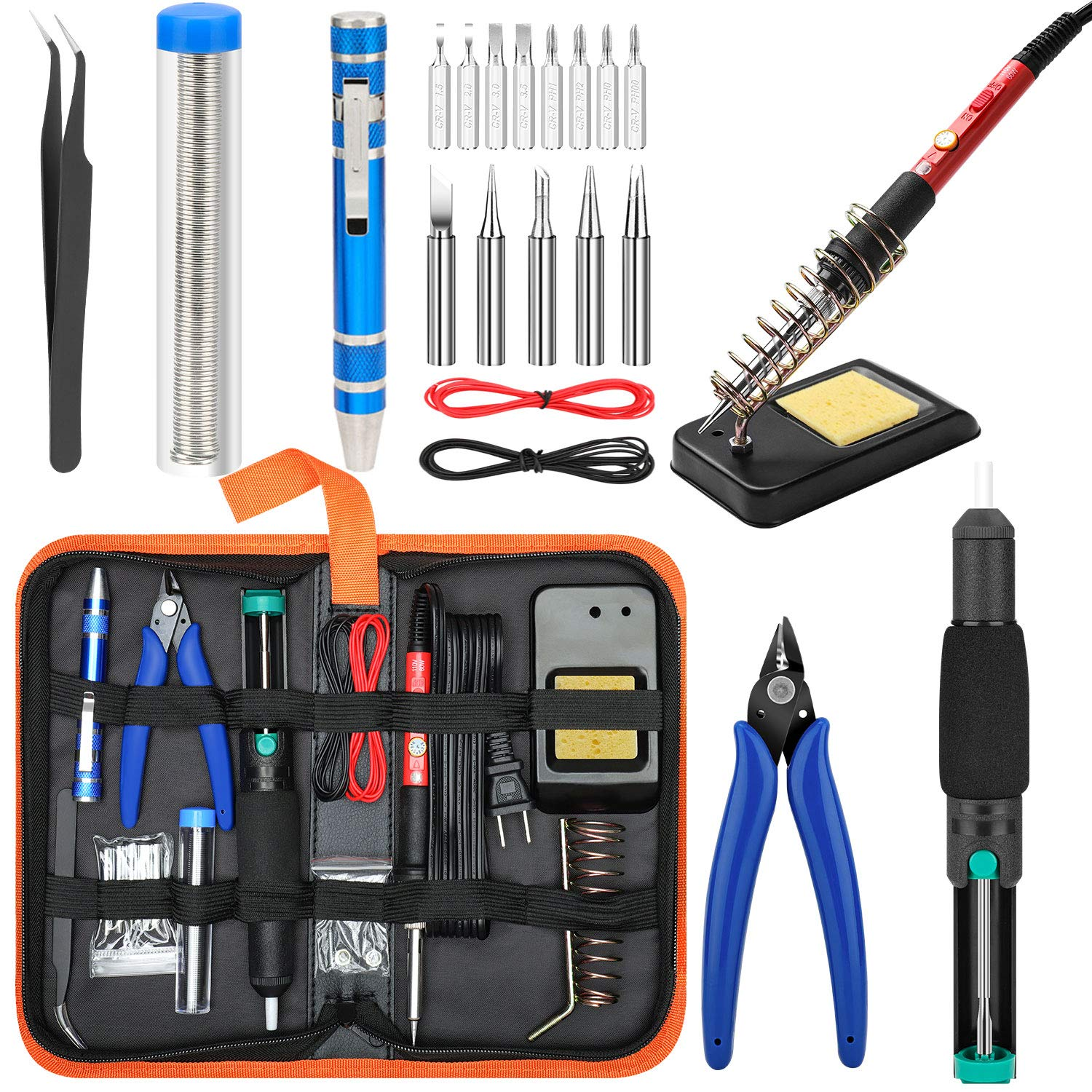 Soldering Iron Kit Electronics [Upgraded], Yome 15-in-1 60w Adjustable Temperature Soldering Iron with ON/OFF Switch, 5pcs Soldering Iron Tips, DE-soldering Pump, Wire cutters, screwdriver, Stand