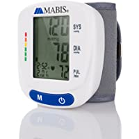 Mabis Blood Pressure Monitor for Wrist to Monitor Pulse and Includes Standard Wrist Cuff Size (White)