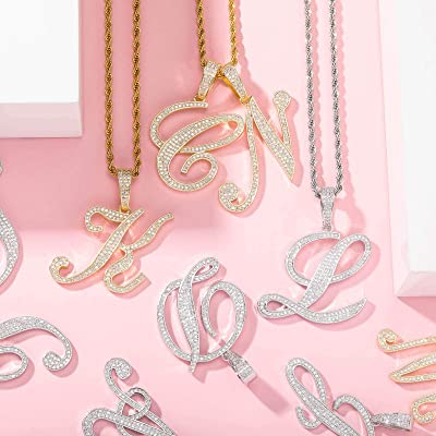 GUCY Tiny Letter Name Chain Necklace Gold//Silver Cubic Zirconia Initial Letter Pendant Necklace Gift for Women
