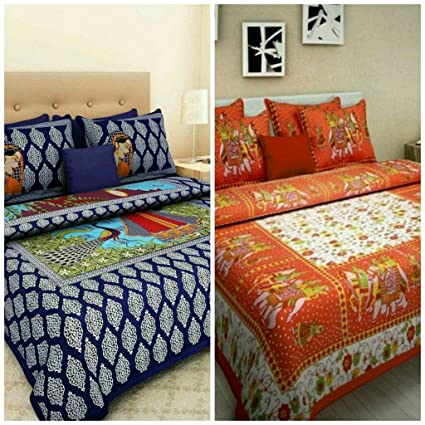 42321247709 Suraaj Fashion Cotton Double Bedsheet with 4 Pillow Covers
