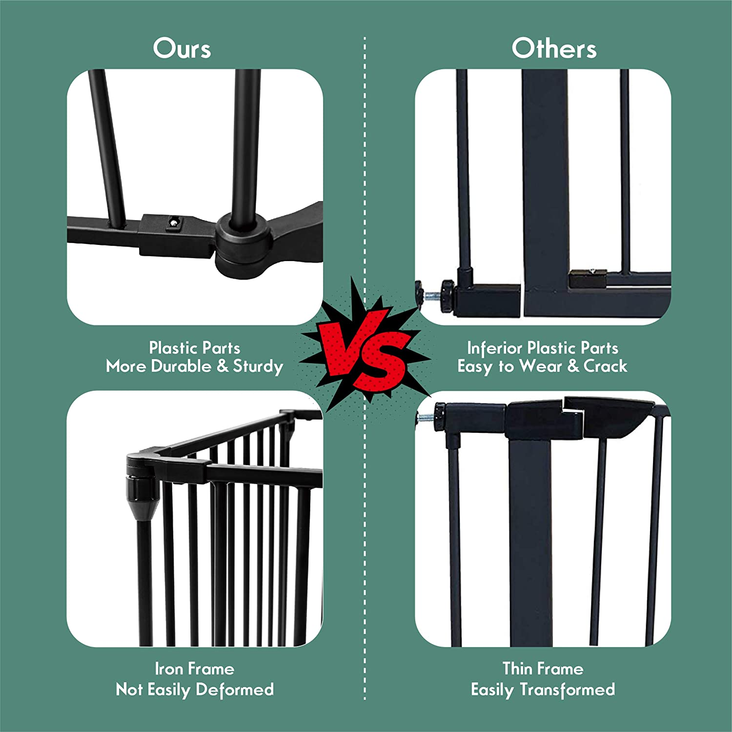 6-Panel,Black Wall-Mount Metal Play Yard for Toddler//Pet//Christmas 6-Panel Fireplace Fence with Walk-Through Door in Two Directions 4 Pack of Wall Mounts Costzon 150-Inch Wide Baby Safety Gate