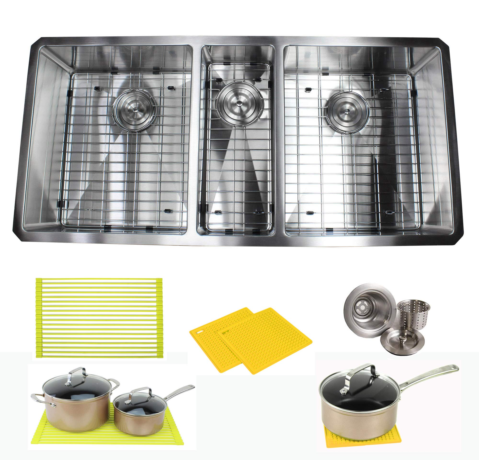 Premium 42 Inch Stainless Steel Triple Bowl Super Sized Kitchen Sink Package - 16 Gauge Undermount Basin - Complete Sink Pack + Bonus Kitchen Accessories - Ideal For Kitchen Renovation by CBath