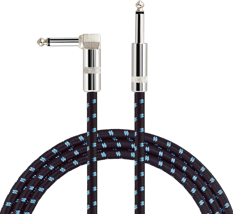 Mugig Cable para Guitarra/Bajo/Teclado Profesinal Conector Mono de 6.3 mm con acabado en Níquel, tipo
