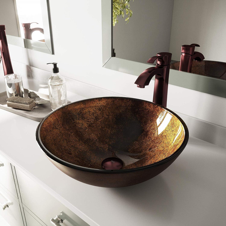 VIGO Russet Glass Vessel Bathroom Sink and Otis Vessel Faucet with Pop Up, Oil Rubbed Bronze