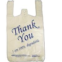 Eposgear® Lot de 100–Large Blanc/bleu Thank You 100% biodégradables Eco Sacs en plastique