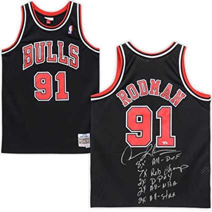 new product 9b536 3e7eb Dennis Rodman Chicago Bulls Autographed Black Replica ...