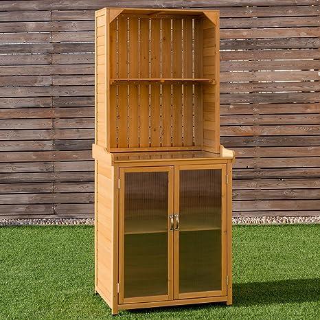 POTTING banco de madera de almacenamiento armario caseta de jardín herramientas organizador estación de trabajo