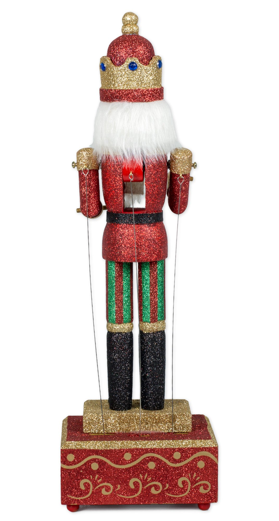 MusicBox Kingdom Big Wooden Nutcracker with Glitter Moves The Arms to The Tune of ''Nutcracker Suite'' Decorative Item by Musicbox Kingdom (Image #4)
