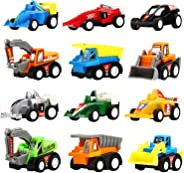Yeonha Toys Pull Back Vehicles, 12 Pack Mini Assorted Construction Vehicles & Race Car Toy, Vehicles Truck Mini Car Toy for K
