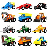 Pull Back Vehicles,12 Pack Assorted Construction Vehicles and Raced Car Toy, Vehicles Truck Mini Car Toy For Kids Child Boys,Pull Back And Go Car Toy Play Set