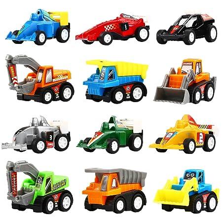 Coches Por Fricción, Pack de 12 Vehículos de Juguete Surtidos con 6 Camiones de Construcción y 6 Coches de Carreras, Mini Vehículos Camiones y Cochecitos de ...
