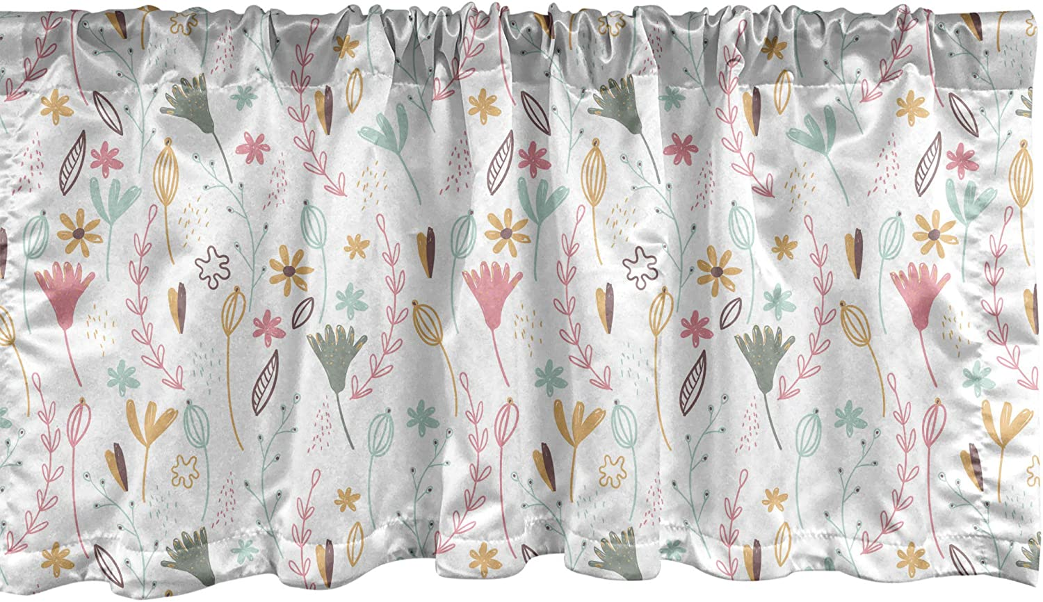 Ambesonne Botanical Window Valance, Pattern of Forest Herbs and Flowers, Curtain Valance for Kitchen Bedroom Decor with Rod Pocket, 54