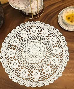 Janef White Handmade Crochet Doilies Cotton Table mats Lace Doilies Doily Round Lace Placemats Crochet Placemat 12 Inches 2pc