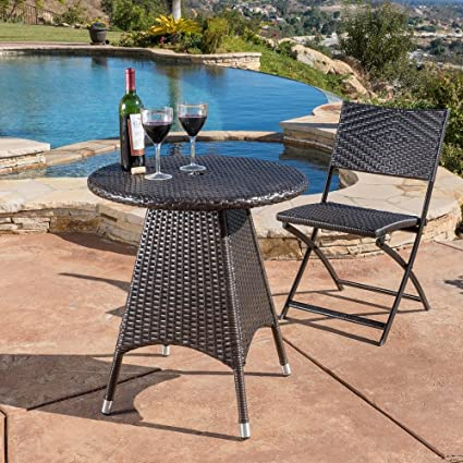 Amazoncom Home Corsica Outdoor Wicker Round Dining Table ONLY - Outdoor dining table only