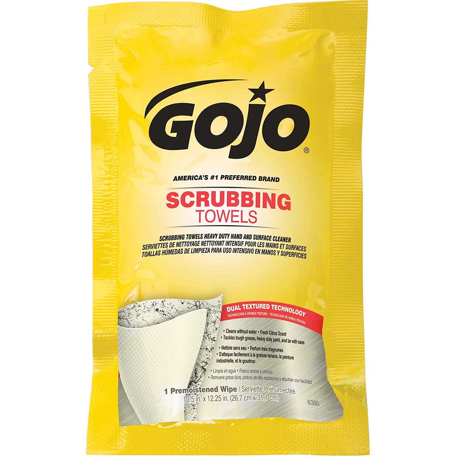 Amazon.com: Gojo Scrubbing Towels 6380-04, Display Carton, Individually Wrapped Extra-Large Textured Wet Towels - 80 Count: Automotive