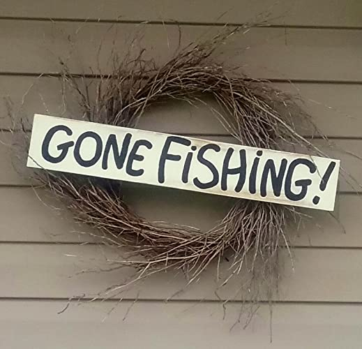 Amazon Custom Painted Distressed Gone Fishing Sign Coastal Custom Gone Fishing Signs Decor