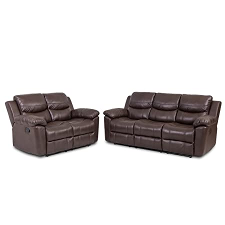 JUNTOSO 2 Pieces Recliner Sofa Chair Sets Bonded Leather Living Room Lounge Loveseat Reclining Couch- Chocolate