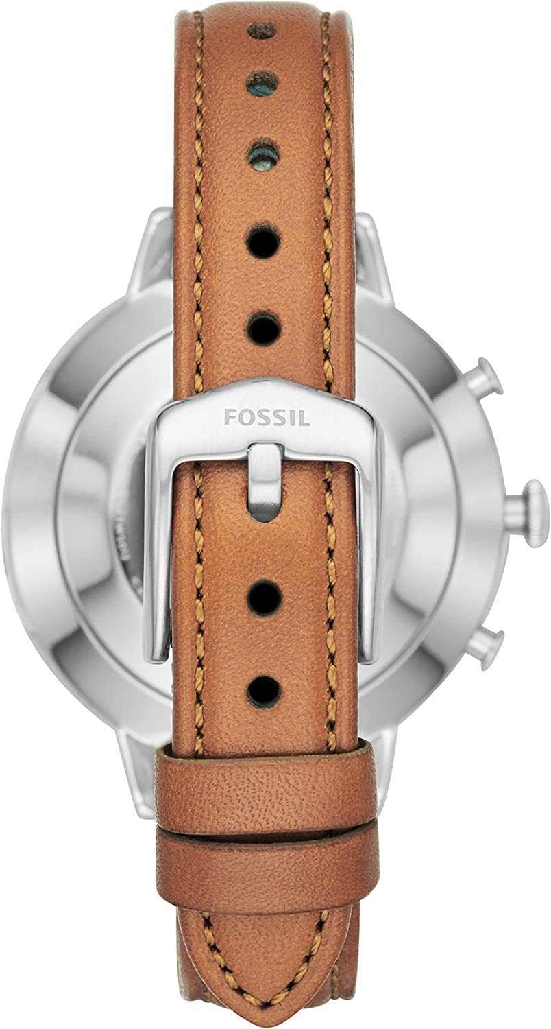 Color: Silver Model: FTW5012 Fossil Womens Jacqueline Stainless Steel and Leather Hybrid Smartwatch Brown