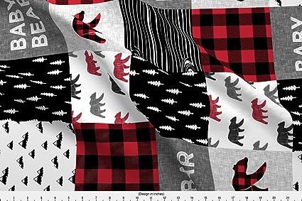 Spoonflower Lumberjack Fabric - Lumberjack Plaid Buffalo Baby Bear Bear  Baby Boy Bear - by Littlearrowdesign Printed on Minky Fabric by The Yard