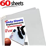 """Sticky Mat / Pad Replacement Sheets, Fits All Traction Board, Approximate Size 15"""" x 18"""", Transparent. Great for Grip and Traction, Volleyball, Wrestling by StepNGrip (Transparent, 60 Sheets)"""