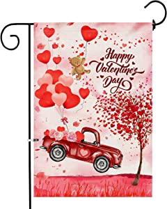 Hexagram Truck Valentines Garden Flag,Burlap Yard Flags Double Sided,Happy Valentine Floadt Red Truck and Love Tree Outdoor Valentines Decorations,Small Garden Flag 12x18 Prime