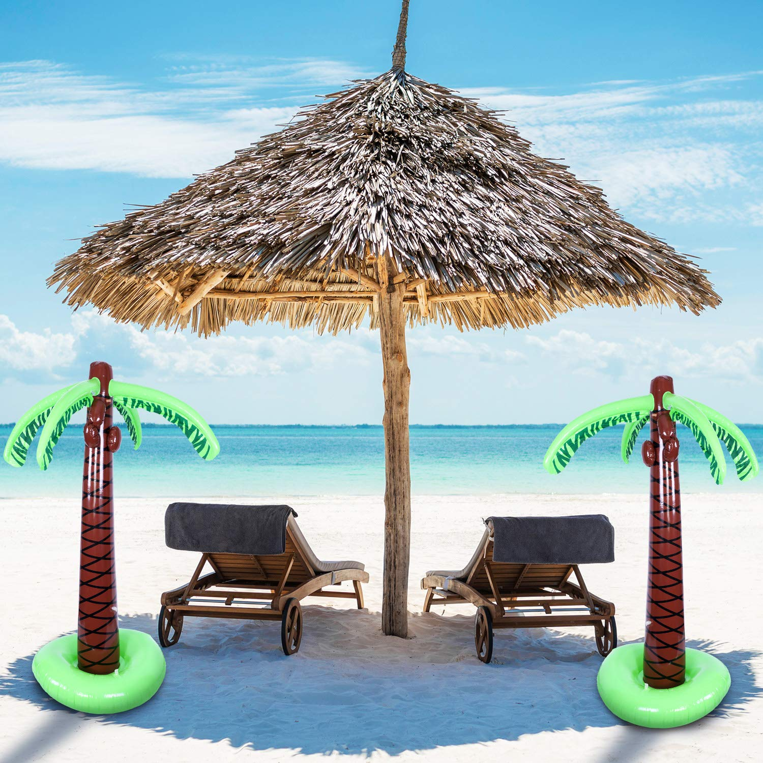67 Inches, 1 Pack TecUnite Inflatable Palm Trees Jumbo Coconut Trees Beach Backdrop Favor for Hawaiian Luau Party Decoration Accessory
