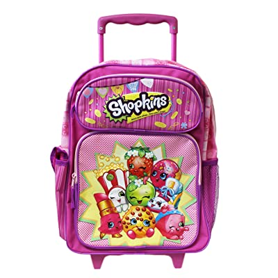 Shopkins Pink Full Size Kids Rolling Backpack (16in)