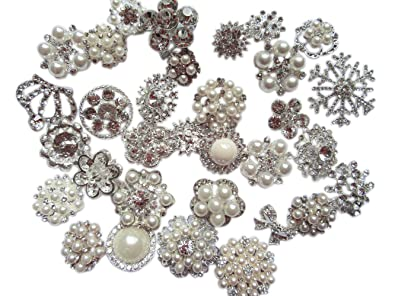 16a719a249b Image Unavailable. Image not available for. Color: YYCRAFT 30pcs Silver Crystal  Broaches Brooch Pins ...