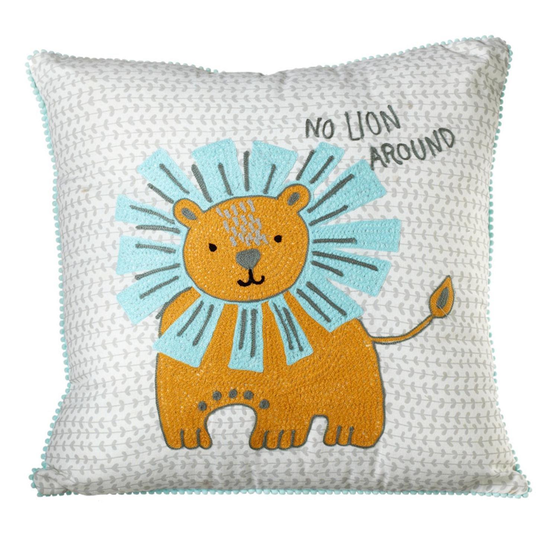 Diva At Home 18インチ イエローとシーフォーム ブルーの刺繍ライオンのスローピロー 丸いライオンなし   B07CSZJZ8H