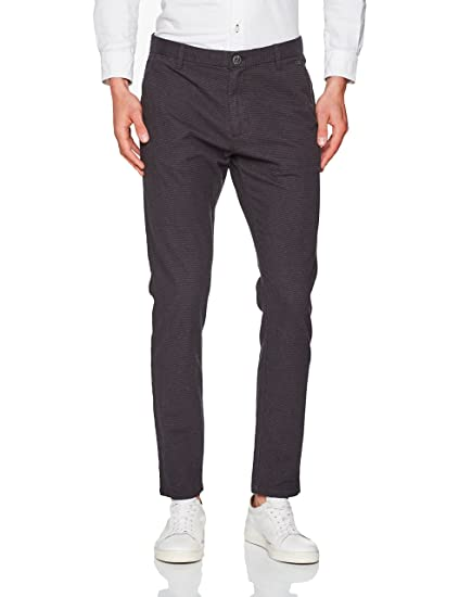 Selected Homme Men's Shharval M. Night Check Slim Pant STS Trouser, Grey  (Moonless