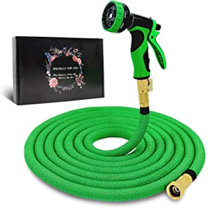 """Byhagern Expandable Garden Hose 50ft, Flexible Garden Hose with 3/4"""" Solid Brass Fittings and Spray Nozzle, Durable Expanding Water Hose for Gardening"""
