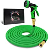 "Byhagern Expandable Garden Hose 50ft, Flexible Garden Hose with 3/4"" Solid Brass Fittings and Spray Nozzle, Durable…"