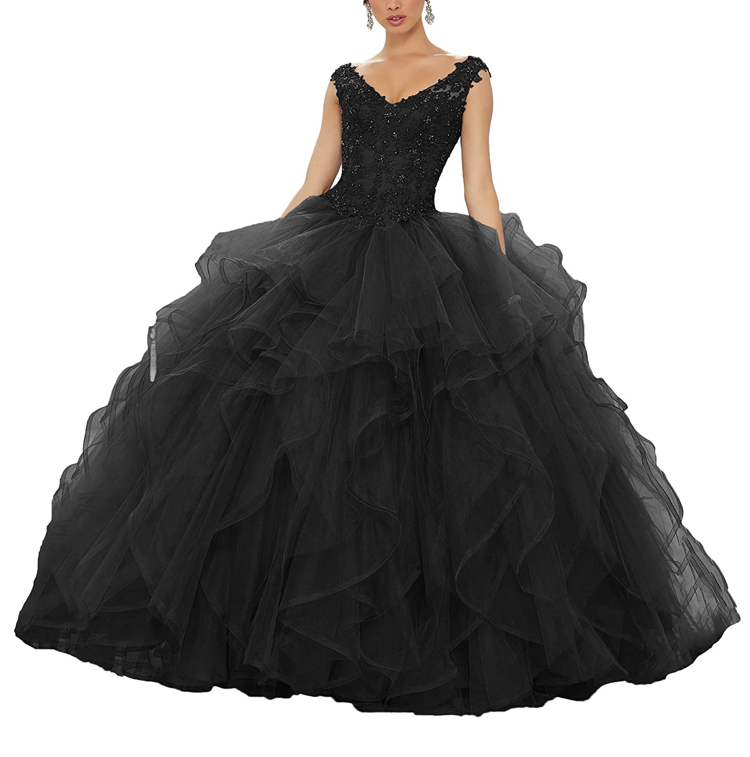 Black Yisha Bello Women's Applique Beaded Organza Ruffles Prom Ball Gowns VNeck Lace Up Quinceanera Dresses