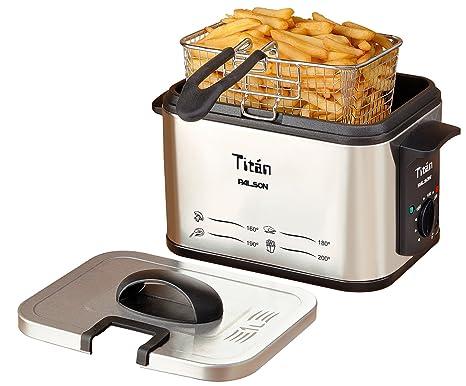 Palson - Freidora 30494 Titan 1Litro, 1500W, Compacta, Inox, Termostato Temperatura,