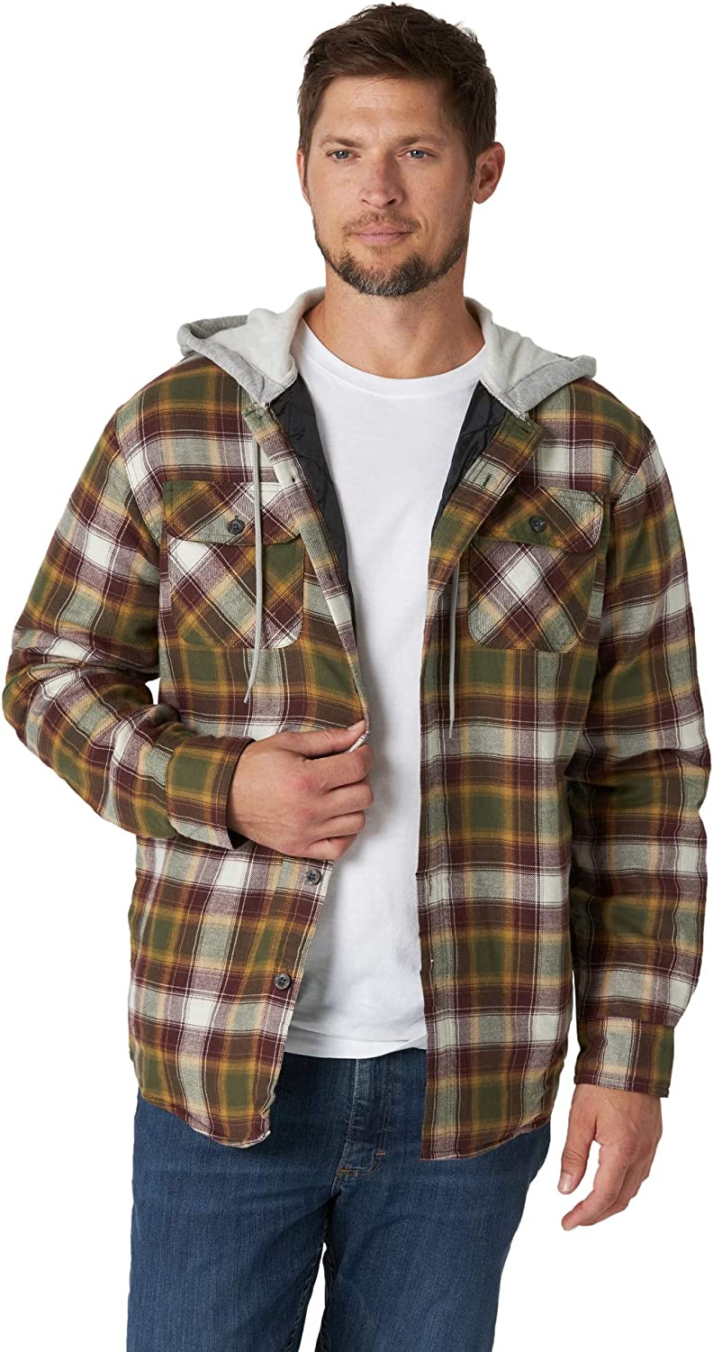 Total Eclipse With Heather Wrangler Authentics Mens Long Sleeve Quilted Lined Flannel Shirt Jacket with Hood