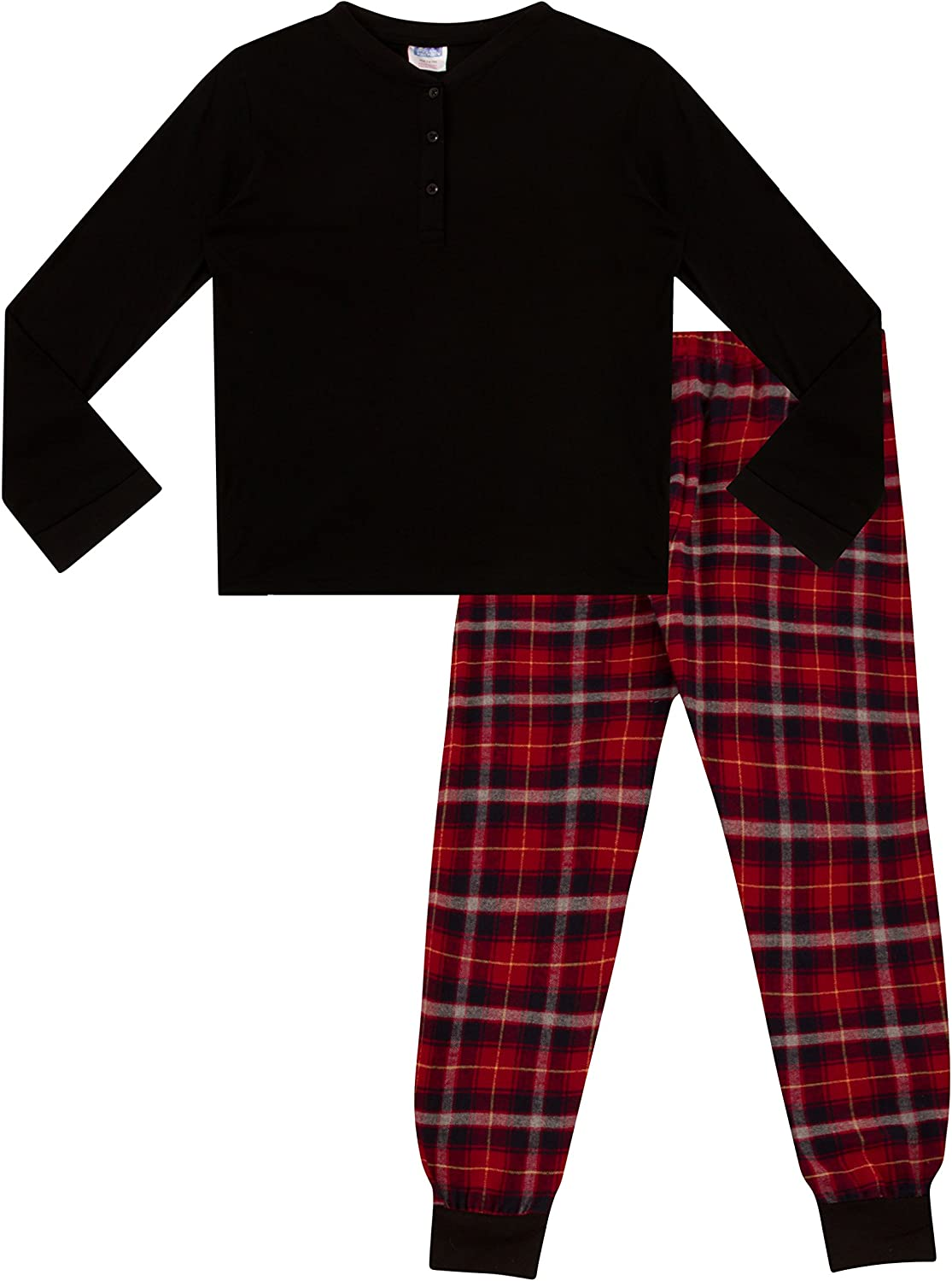 ThePyjamaFactory Childrens Girls Pyjamas Plain Long Sleeve Top /& Woven Check Printed Bottom