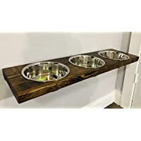 Large 3 Bowl Floating Wood Elevated Wall Mounted Dog Bowl Stand//Industrial Pipe//Dog//Rustic//Raised Dog Bowl