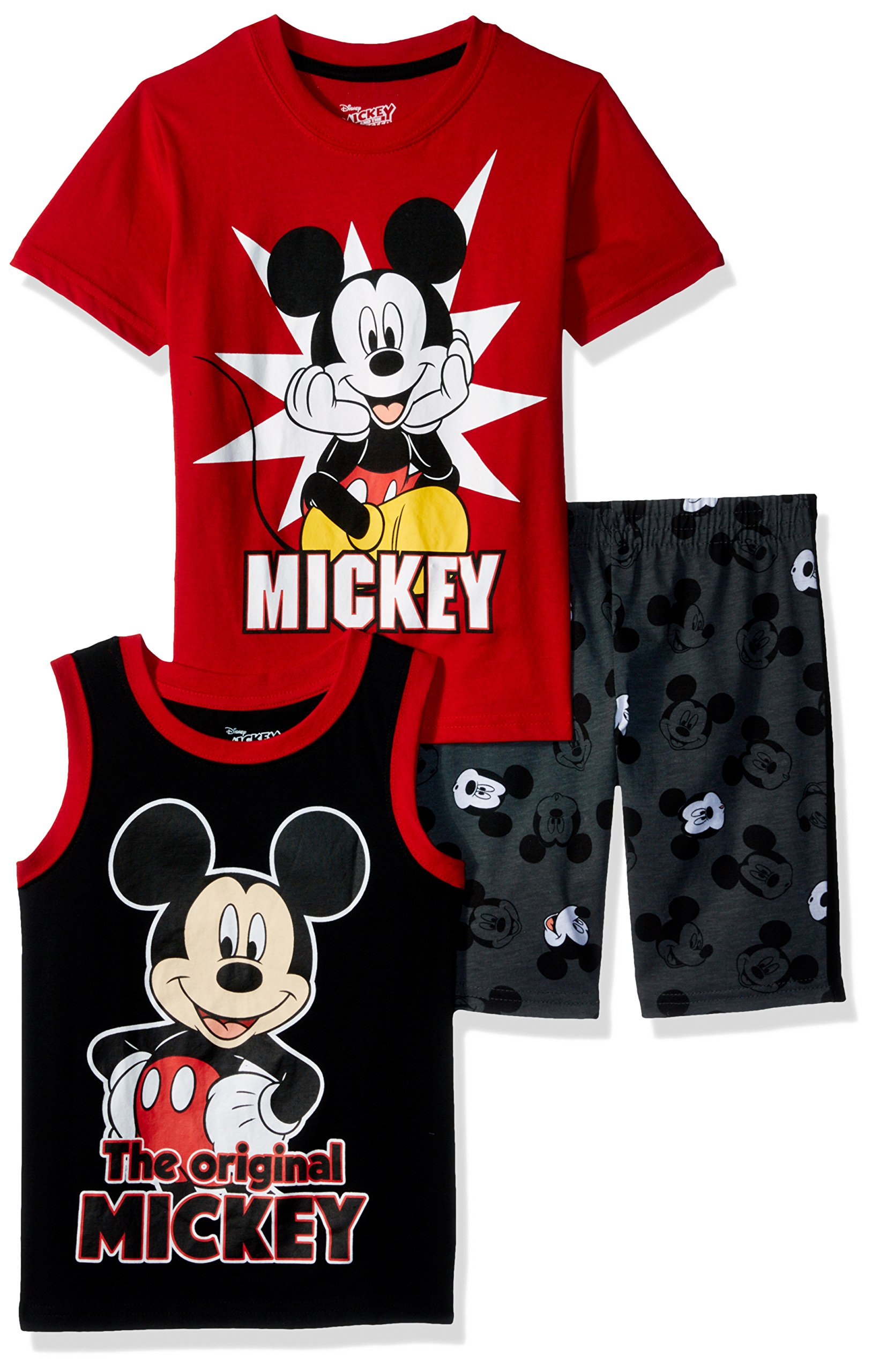Disney Toddler Boys' Mickey 3 Piece Short Set, Red, 3T