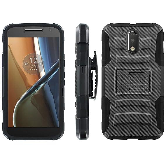 wholesale dealer 7f204 b4f97 Moto [G4] [G4 Plus] Defender Cover [ArmorXtreme] [Black/Black] Heavy Duty  Warrior [Holster] [Kick Stand] - [Carbon Fiber Black] for Motorala Moto [G4  ...