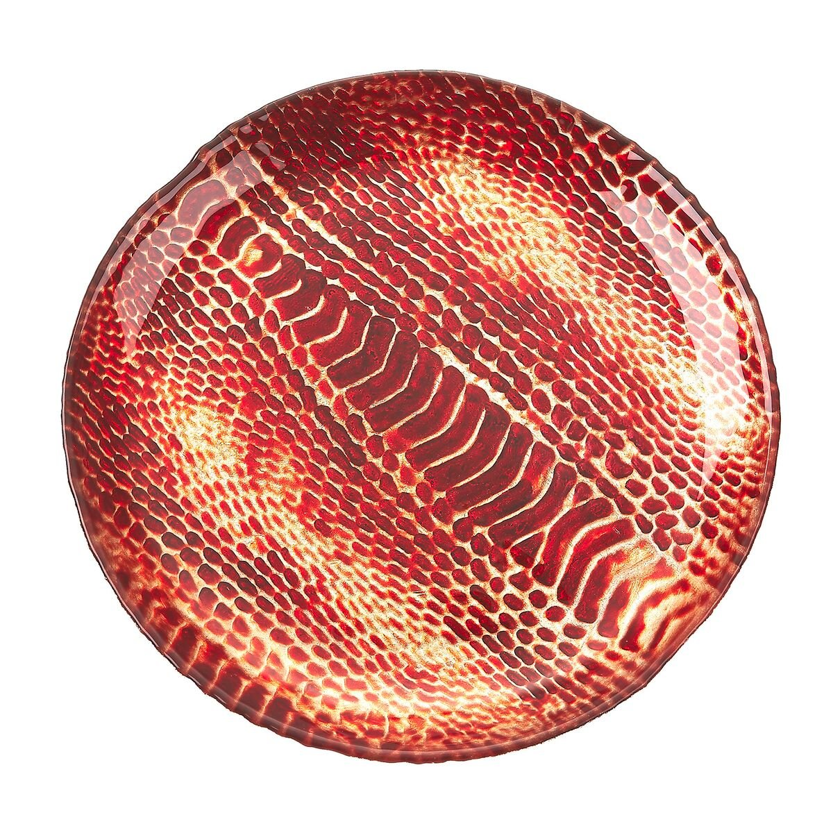 Set of 4 Red Pomegranate 2235-6 Snakeskin Dessert Plates 8.5 Turquoise Gold