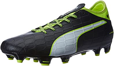 Puma Men's Evotouch 3 Fg Black, White and Safety Yellow Football Boots - 10  UK