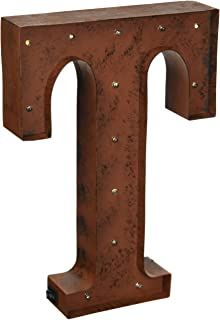 the gerson company t led lighted metal letter with rustic brown finish and timer