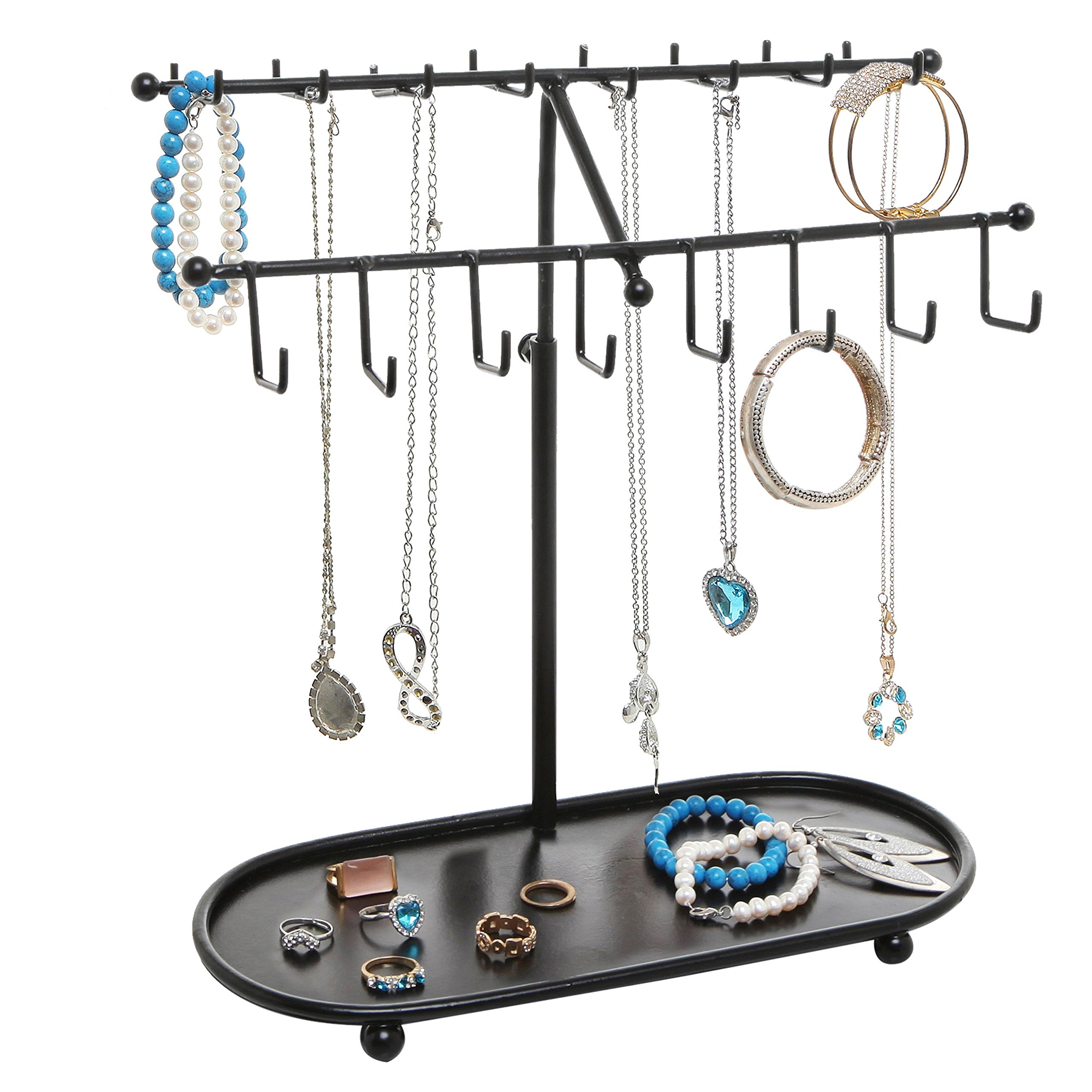 15 Inch Black Metal Height Adjustable 24 Hook Jewelry Organizer / Necklace & Bracelet Hanger w/ Ring Tray