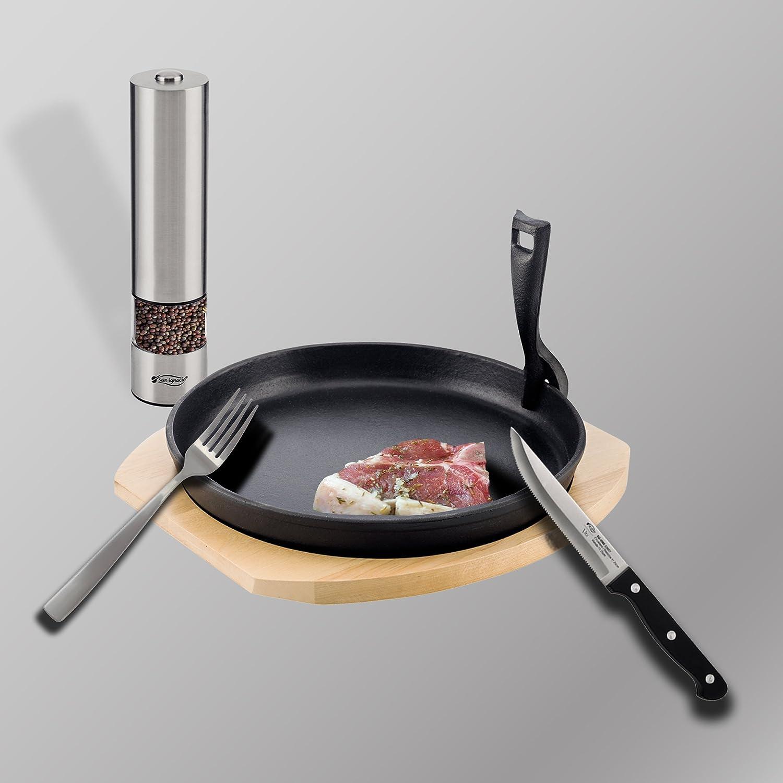San Ignacio Vita: Set Raclette hogar: Bandeja Individual (x4) de 25x3 cm 6 Cuchillos con Filo dentado de 12,5 Tabla: 35 x 25 x 3 pimentero eléctrico 22,3 x ...