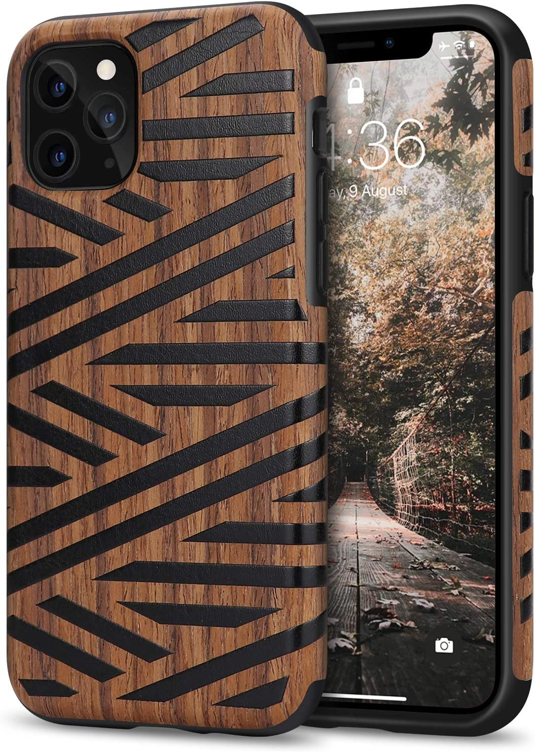 Tasikar Compatible with iPhone 11 Pro Case Easy Grip Wood Grain Design Compatible with iPhone 11 Pro (Leather & Wood)