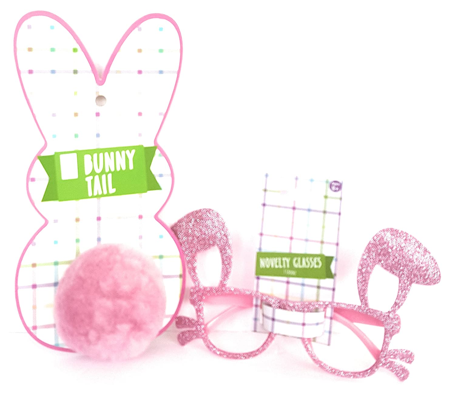 4 x 9 Pink Bundle of 2 Plastic Happy Easter Kids Toddlers Gift Children Special Costume Easter Bunny Ears and Whiskers Glitter Glasses /& Bunny Tail Party Accessory