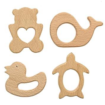Amazon.com: Bebé de madera juguetes dentición 4 piezas ...