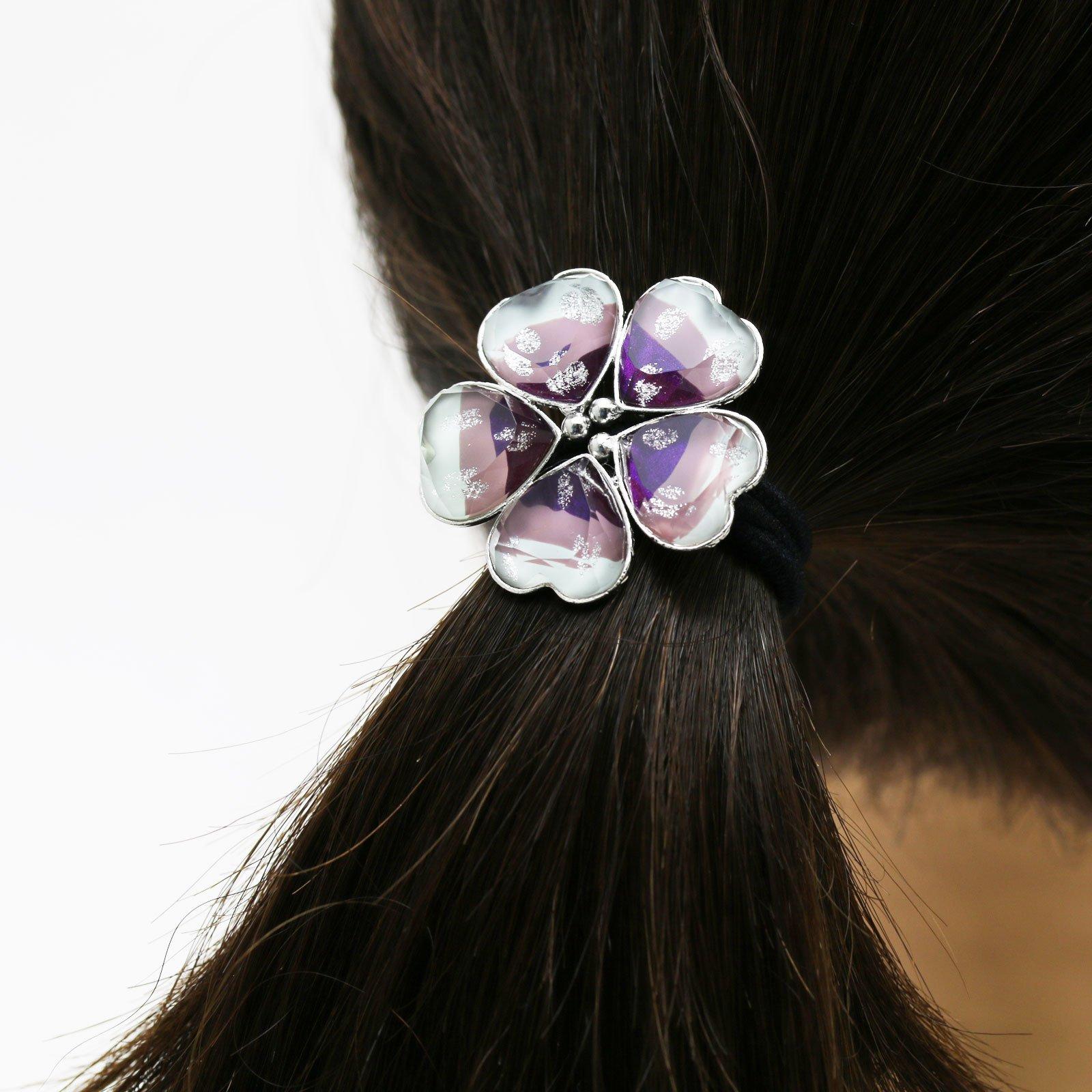 Tamarusan Ponytail Holder Purple Gradient Rainbow Flower Hair Rubber Heart Silver Lame by TAMARUSAN (Image #4)